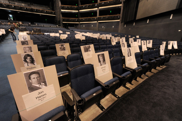 Celebrity seating place cards are displayed during the 62nd Primetime Emmy Awards press preview Day at Nokia Theatre L.A. Live on August 25, 2010 in Los Angeles, California.
