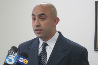 Manuel Gallegos, who recorded a YouTube video showing LAPD officers hitting bike riders with batons, holds a press conference to announce his claim against the LAPD in Downtown Los Angeles on June 4, 2010.