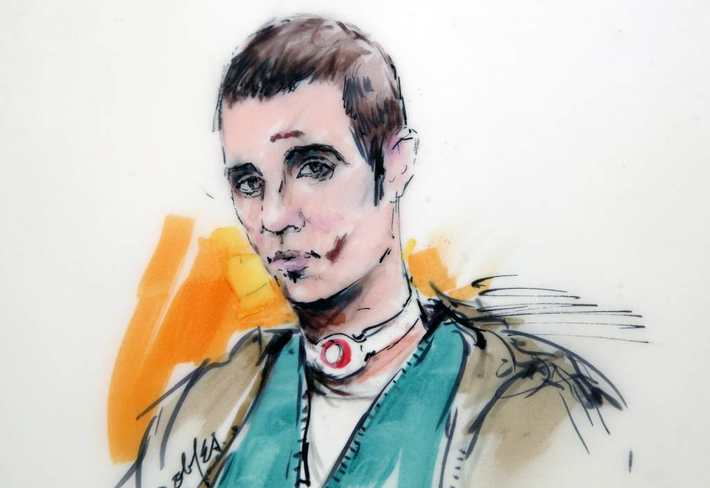 This courtroom drawing shows Paul Ciancia during an appearance at the West Valley Detention Center wearing a bandage on his neck and with bruises on his face on Wednesday, Dec. 4, 2013, in Rancho Cucamonga.