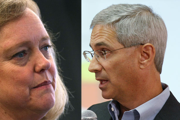 Republican gubernatorial candidates Meg Whitman and Steve Poizner.