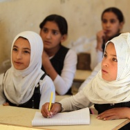 Iraqi students attend class in a building, that was liberated by Popular Mobilisation units from Islamic State (IS) group jihadists.