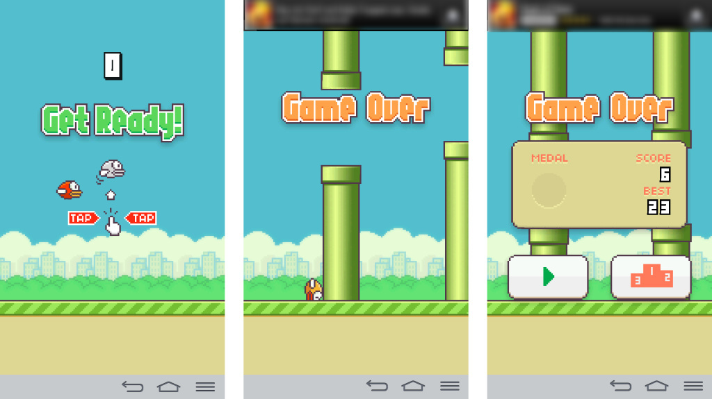 Still from the iOS game, Flappy Birds.