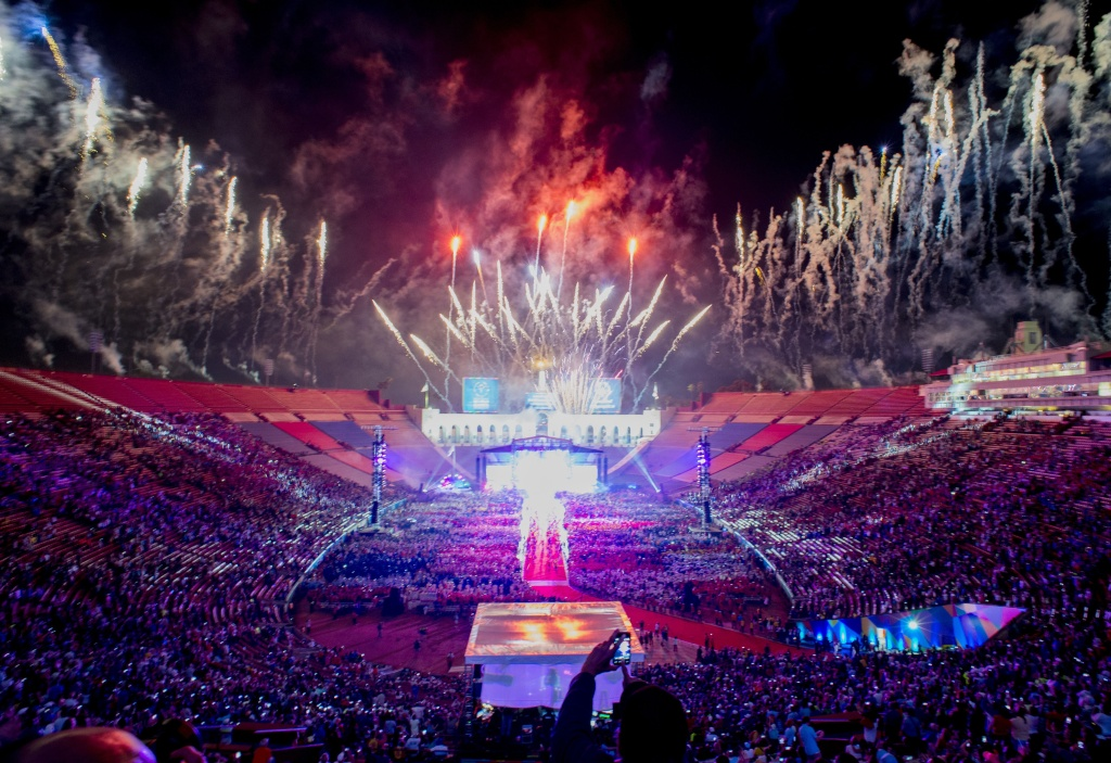 Fireworks explode over the Los Angeles Memorial Coliseum during the 2015 Special Olympics World Games Opening Ceremony, July 25, 2015 in Los Angeles, California. Los Angeles is opening a bid for the 2024 Olympics