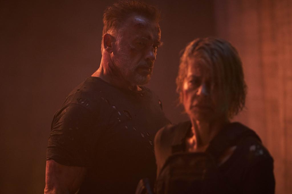 Arnold Schwarzenegger and Linda Hamilton star in