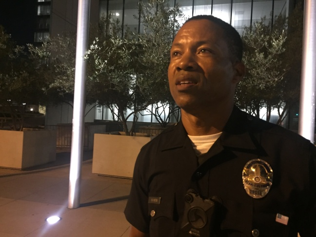 Officer Dave Bowen, who walks a foot patrol in downtown L.A., is one of more than 4,000 LAPD cops who wear body cams attached to the middle of their shirt.