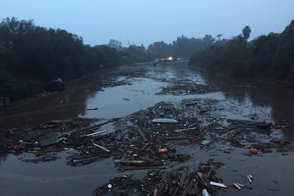 Mudslides in Montecito covered Highway 101 with 6 to 8 feet of water and debris.