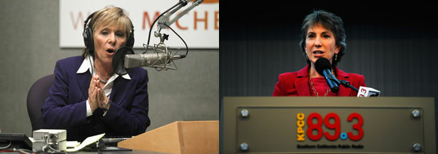 Barbara Boxer participating in the debate from NPR's studios in Washington, D.C., and Carly Fiorina at a post-debate press conference at KPCC's studios in Pasadena.