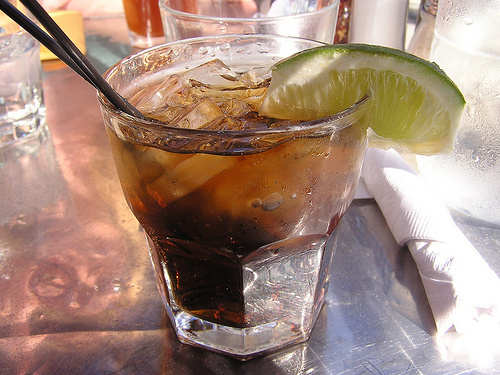 mixed drink, alcohol, coke