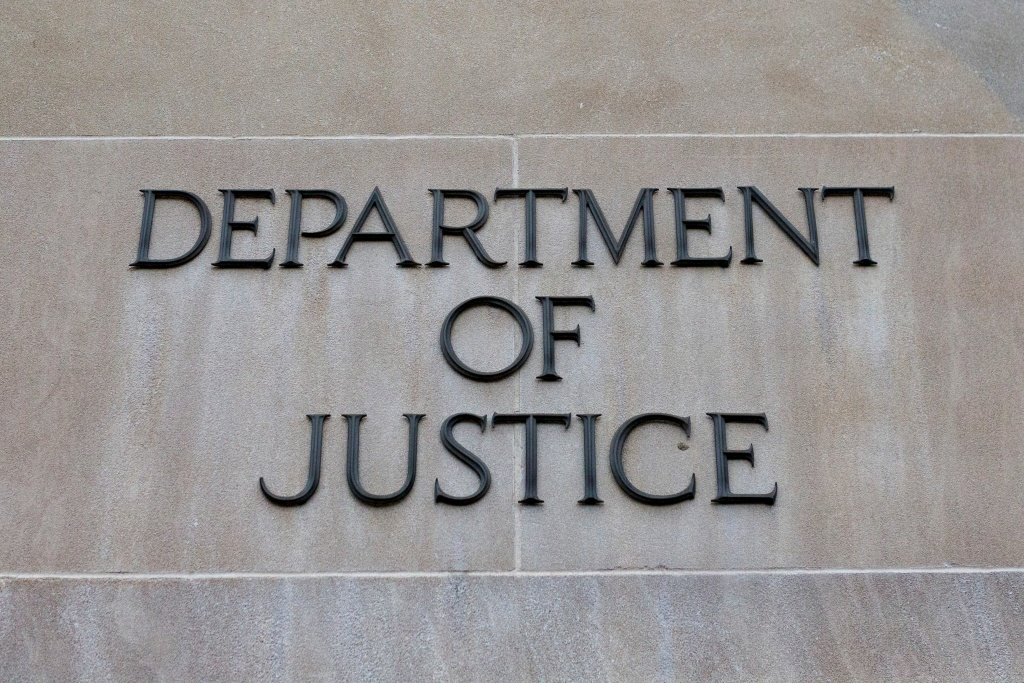 The exterior of the United States Department of Justice on February 16, 2018 in Washington, D.C.