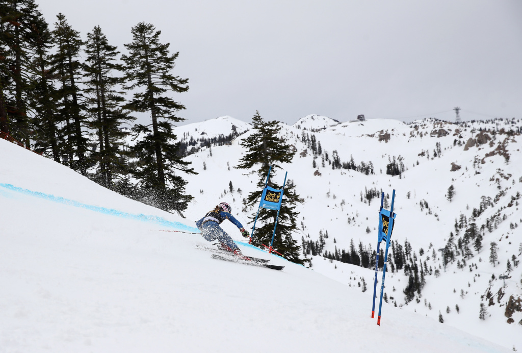 Mikaela Shiffrin competes in the first run of the Audi FIS World Cup Ladies' Giant Slalom on March 10, 2017 in Squaw Valley, California.