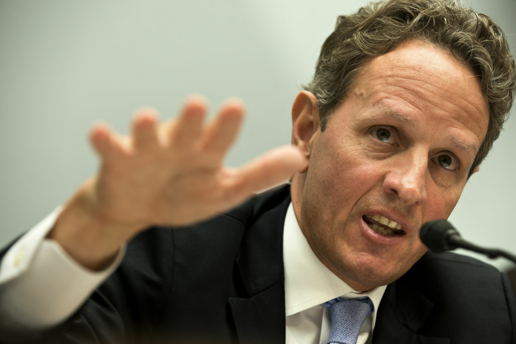 US Secretary of the Treasury Timothy F. Geithner speaks at a hearing of the House Committee on Financial Services on Capitol Hill July 25, 2012 in Washington, DC. Geithner appeared before the committee to testify about the Financial Stability Oversight Council's annual report to Congress, and sought to deflect criticism of his handling of the Libor banking scandal, directing US lawmakers' scorn toward London regulators.