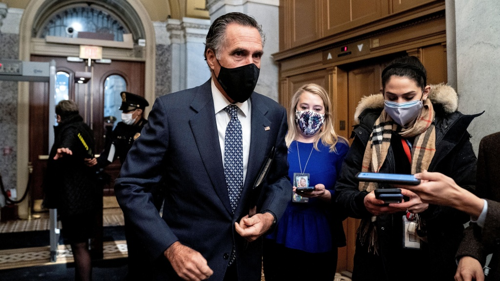 Republican Sen. Mitt Romney arrives at the Capitol for the fifth day of the second impeachment trial of former President Donald Trump on Saturday. Romney was one of the seven GOP senators who voted to convict.