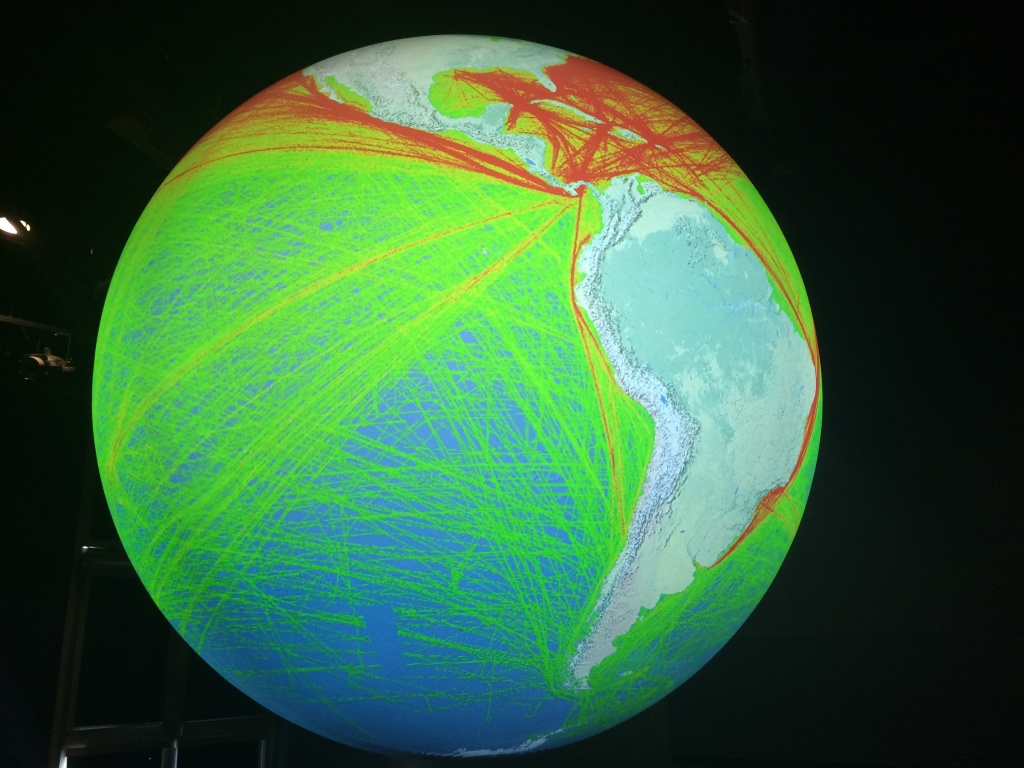 An exhibit at the Aquarium of the Pacific in Long Beach shows 11 percent of global shipping traffic that occurred from October 1, 2004 - October 1, 2005. Higher trafficked routes are shown in red.