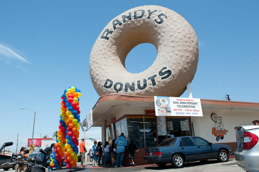 Randy's Donuts celebrates its 60th anniversary with free donuts from 11 am - 2 pm on July 11, 2012.