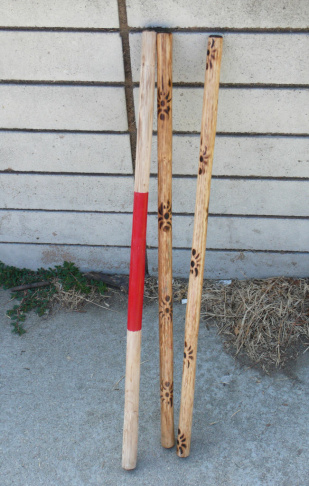 An eskrima stick is typically made of rattan and measures between two and three feet in length