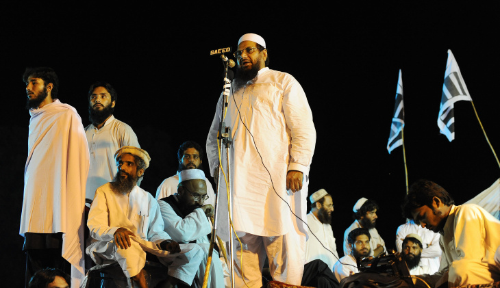 Hafiz Muhammad Saeed (C), the chief of t