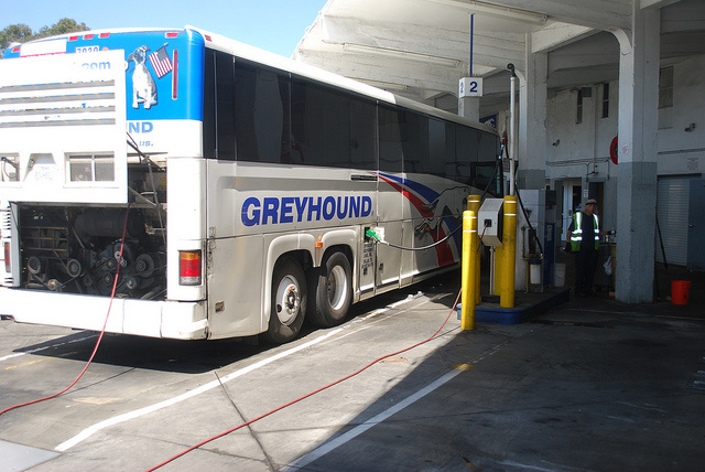A MCI G4500 fuels up at the Oakland, CA Greyhound station.
