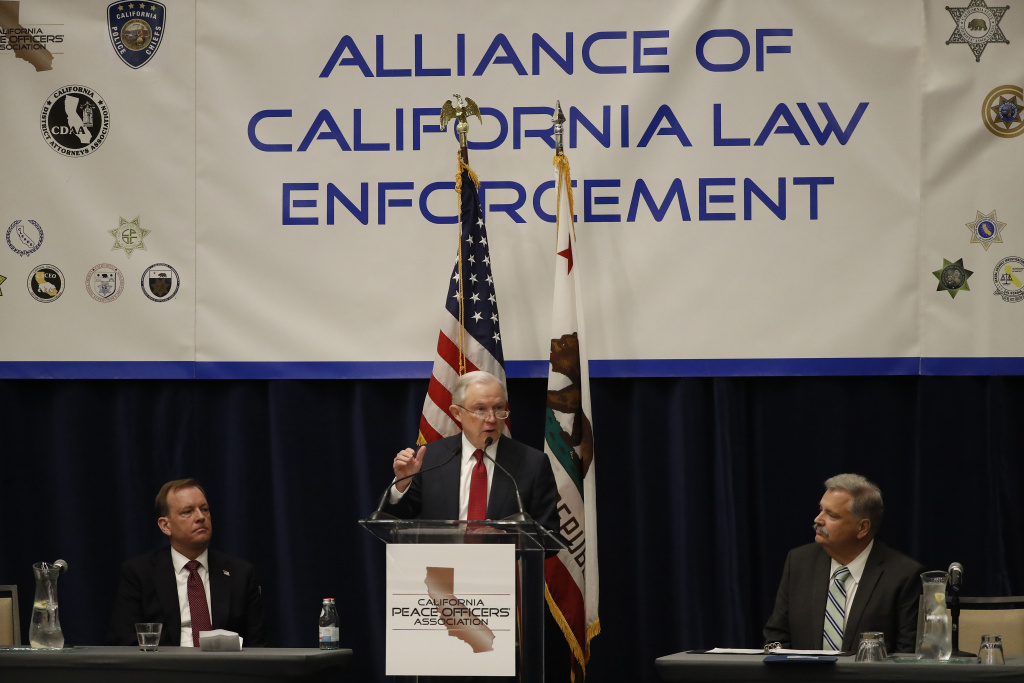 U.S. Attorney General Jeff Sessions speaks at the California Peace Officers' Association 26th Annual Law Enforcement Legislative Day on March 7, 2018 in Sacramento, California, where he spoke on the federal suit against California's pro-immigrant laws.