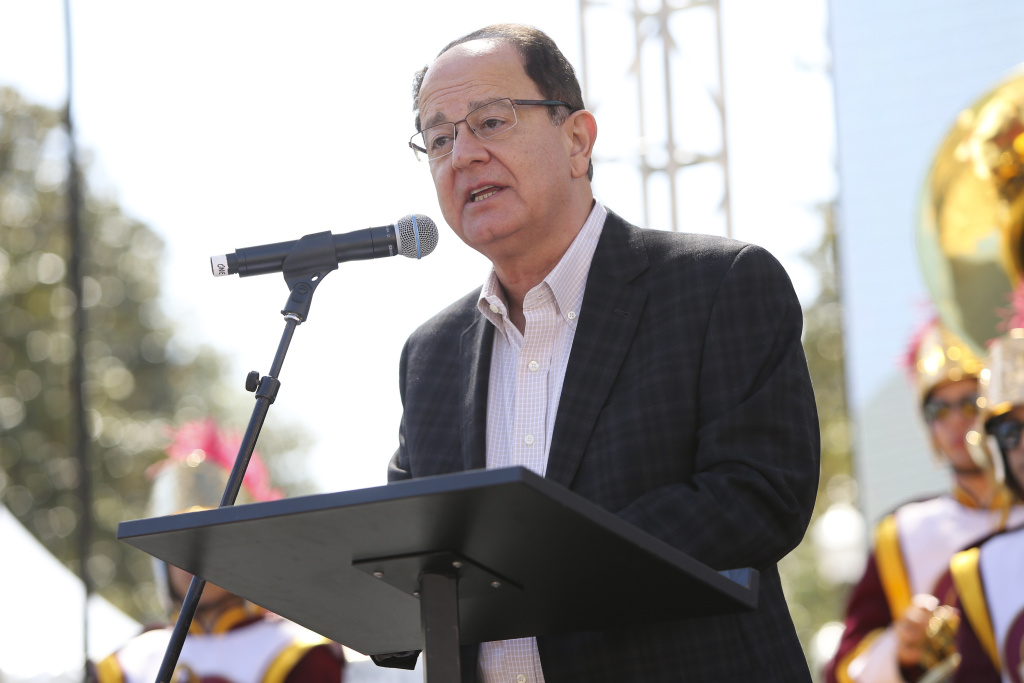 LOS ANGELES, CA - APRIL 20:  USC President C.L. Max Nikias speaks onstage at the 18th Annual LA Times Festival Of Books at USC on April 20, 2013 in Los Angeles, California.  (Photo by Imeh Akpanudosen/Getty Images for LA Times)