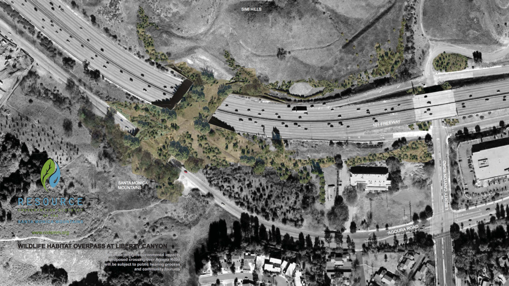File: Model of a proposed wildlife bridge that would cross over 10 lanes of traffic along the 101-Freeway in Agoura Hills.