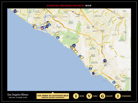 "Screenshot of the ""SoCal Close-ups"" travel app"