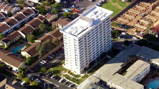 About 100 residents of the Golden West Tower Senior Apartments were evacuated Tuesday because of a murder-suicide at the facility.