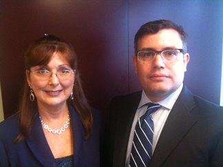 Former adult film actress Diana Grandmason and her attorney Brian Chase of the AIDS Healthcare Foundation.