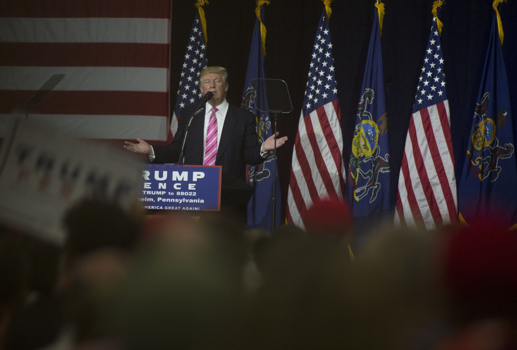 Republican presidential nominee Donald Trump speaks at a campaign event on October 1, 2016 at the Spooky Nook Sports Complex in Manheim, Pennsylvania.