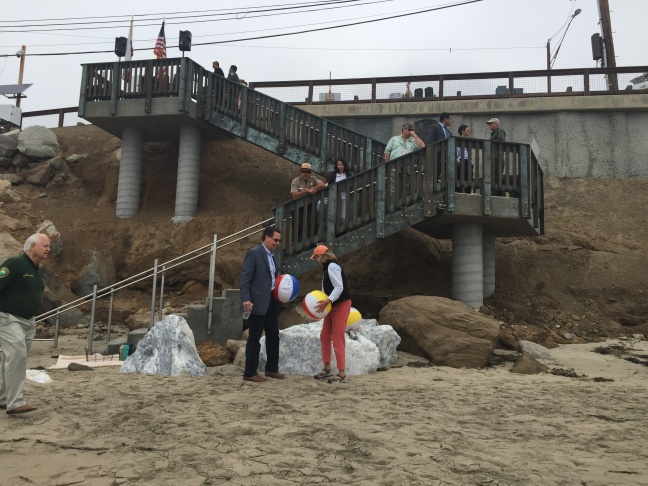 The access sign for a new stairway leading to the beach along Malibu Road in Malibu, officially opened with a ceremony on June 14, 2016.