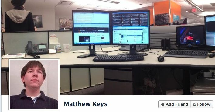 A screencap of Matthew Keys' Facebook page.