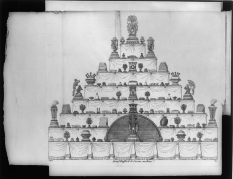 Carême shaped confections like different foods, helmets, Turkish mosques and Greek temples, among other things, on this 8-layer cake illustrated circa 1822.