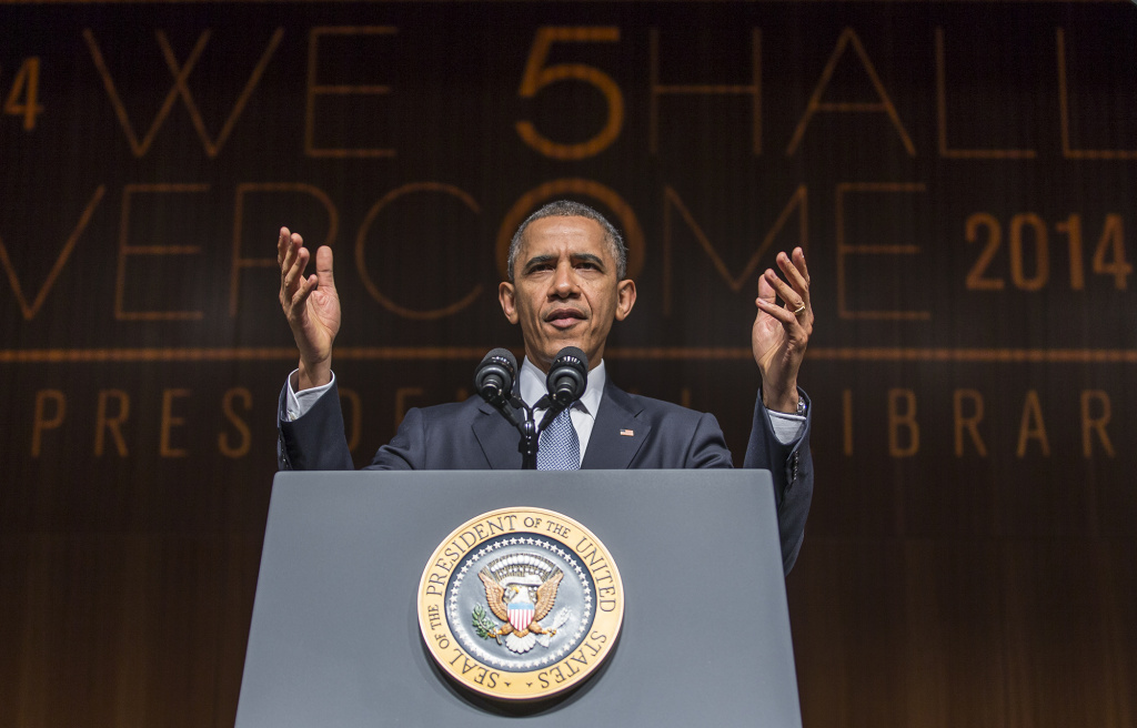 U.S. President Barack Obama gives the keynote speech on the third day of the Civil Rights Summit at the LBJ Presidential Library April 10, 2014 in Austin, Texas. The summit marks the 50th anniversary of the passing of the Civil Rights Act legislation.