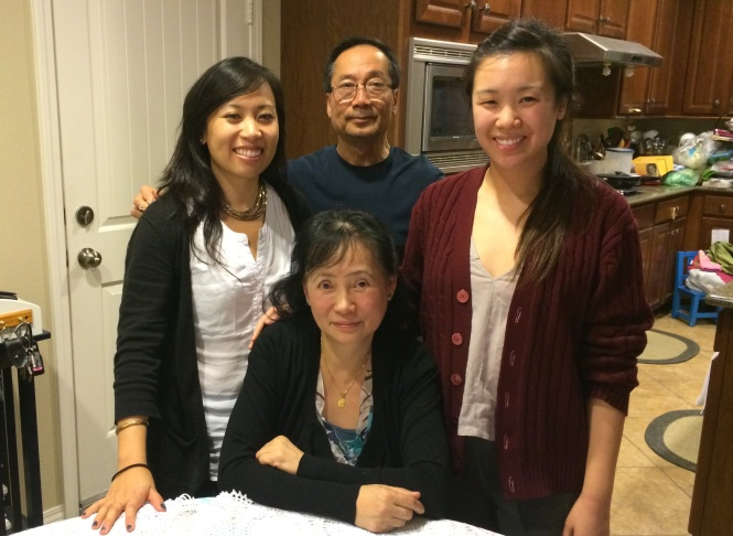 Yvonne Tran, 25, and her family in their home. From left to right: Yvonne, father Lam Tran, sister Lillian Tran, and mother Christine Tran. Lam Tran and Christne Tran fled Saigon in the end of April 1975, but only met after making their way through refugee camps to the US.