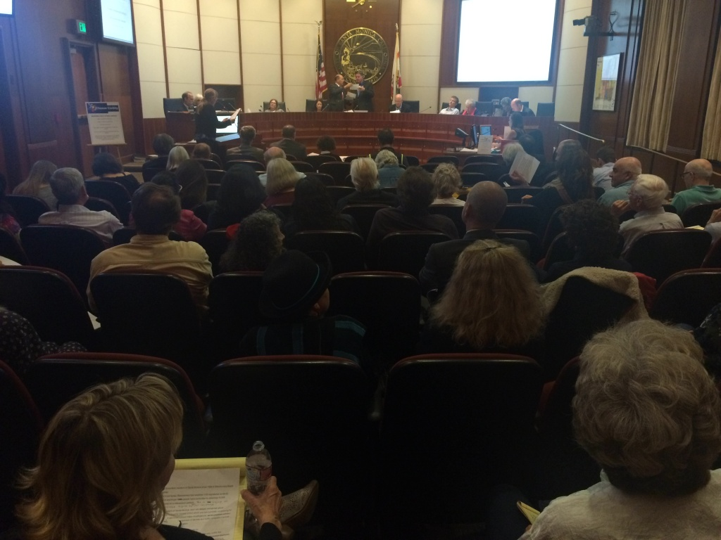 The Santa Monica City Council hosted a meeting April 14, 2015, lasting more than five hours to address the issue of zoning, with 134 people lined up to speak for and against proposed changes.