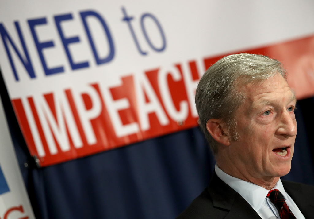 Billionaire hedge fund manager and philanthropist Tom Steyer speaks during a press conference at the National Press Club December 6, 2017 in Washington, DC. Steyer, founder of the