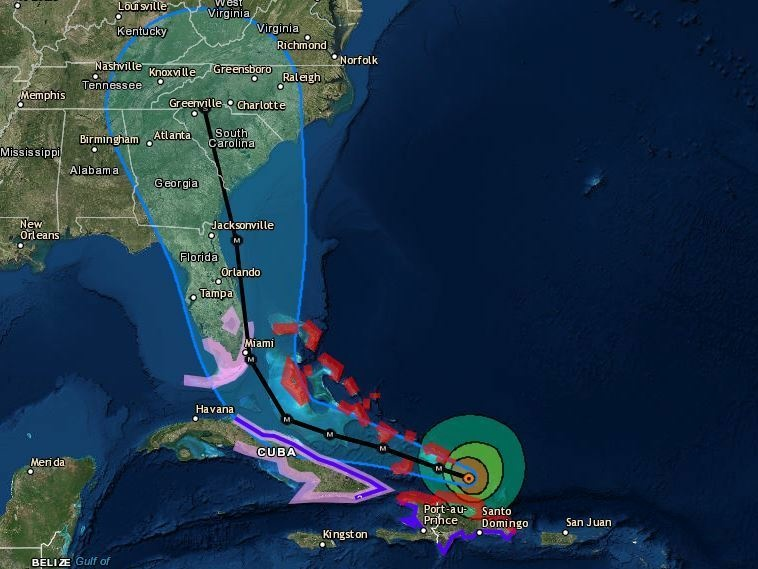 Map As Irma passes Dominican Republic Florida girds for the