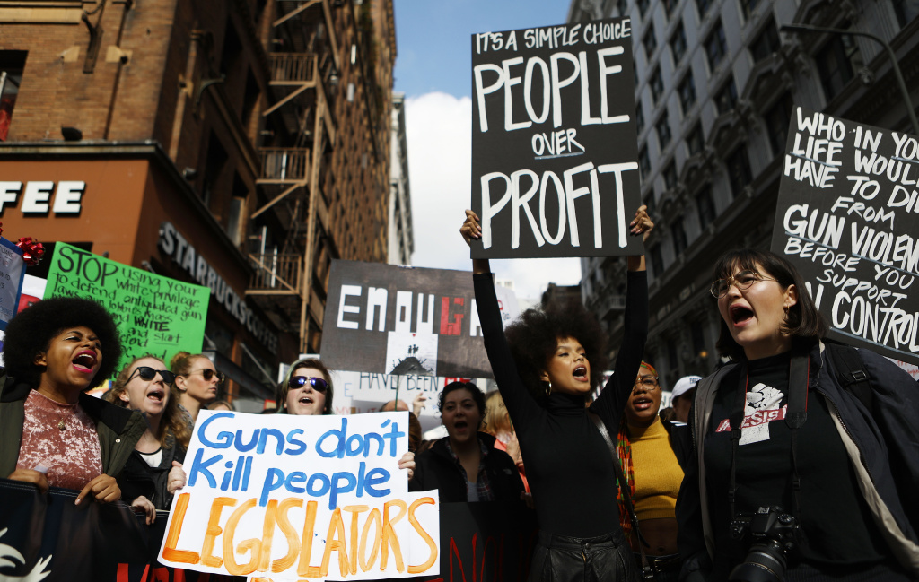 Protesters chant during the March for Our Lives rally on March 24, 2018 in Los Angeles, United States.