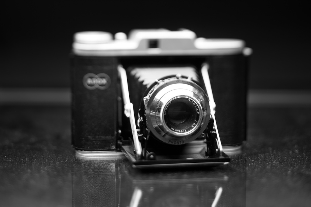 An old medium format camera. About 50 years old. Make: Adox.