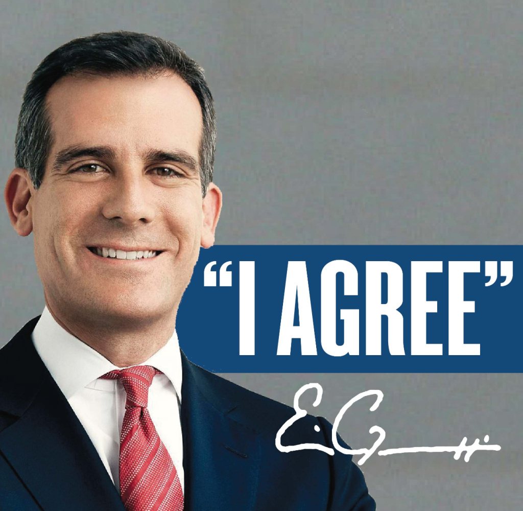 Mayor Eric Garcetti has demanded the pro-Measure S campaign stop using his image on their mailers.