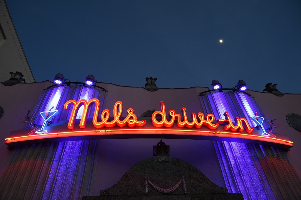 The neon sign and entrance to Mels Drive-in restaurant is seen in Hollywood, California, January 6, 2017.