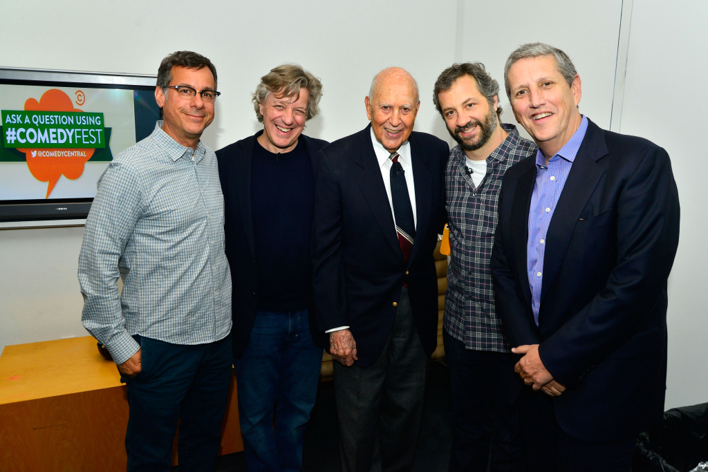 (L-R) Comedy Central President of Original Programming Kent Alterman, Twitter's Creative Director of Media Partnerships Fred Graver, Carl Reiner, Judd Apatow and President of Viacom Entertainment Group Doug Herzog attends Central #ComedyFest Kick-Off with Mel Brooks, Carl Reiner and Judd Apatow at The Paley Center for Media on April 29, 2013 in Beverly Hills, California.