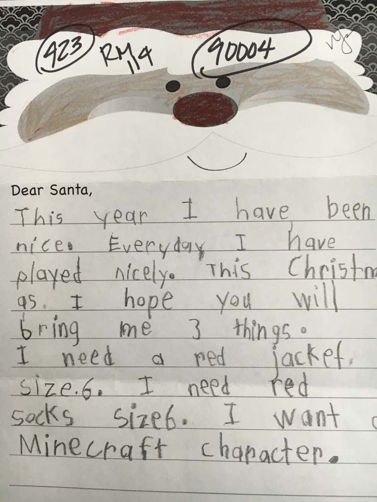 A letter from an anonymous child addressed to Santa. This year, the US Postal Service is celebrating its 104th year of answering the handwritten letters to Santa Claus it receives.