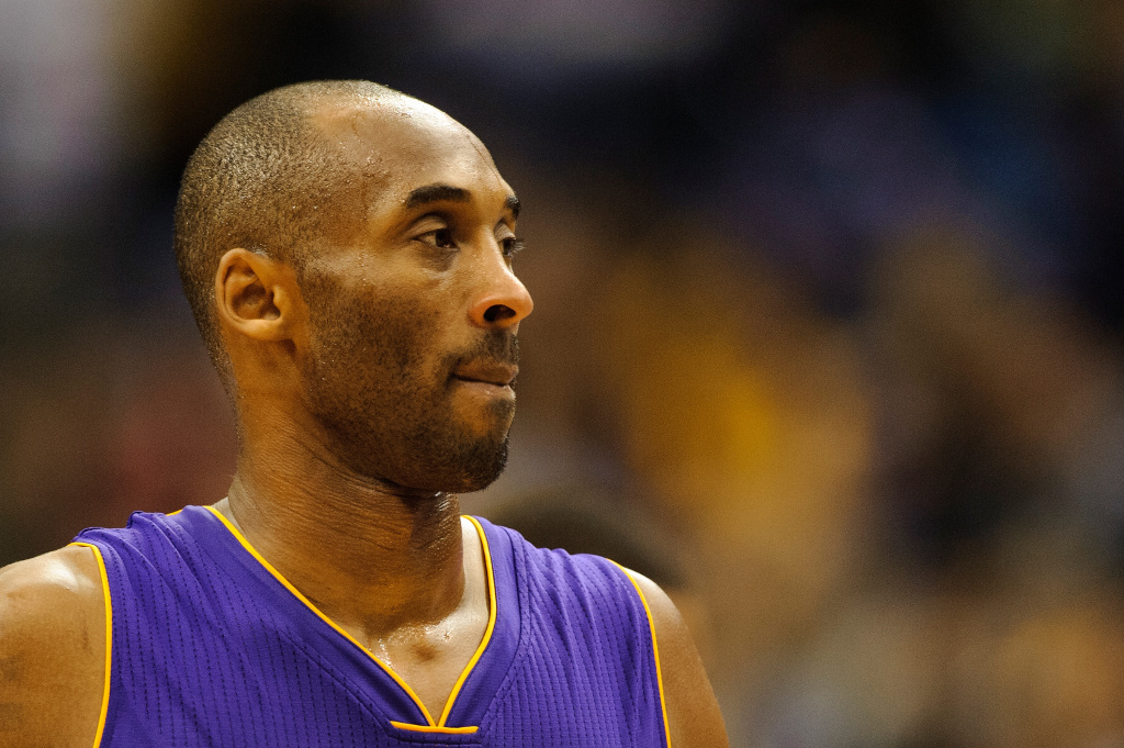 sports shoes 8cdfe 07c37 Kobe Bryant  24 of the Los Angeles Lakers looks on during the fourth  quarter of