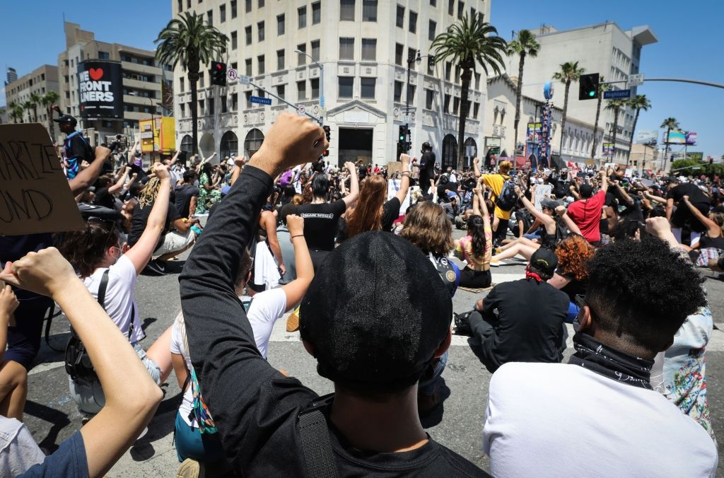 Protesters gather at a peaceful demonstration over George Floyd's death in Hollywood on June 3, 2020 in Los Angeles, California.