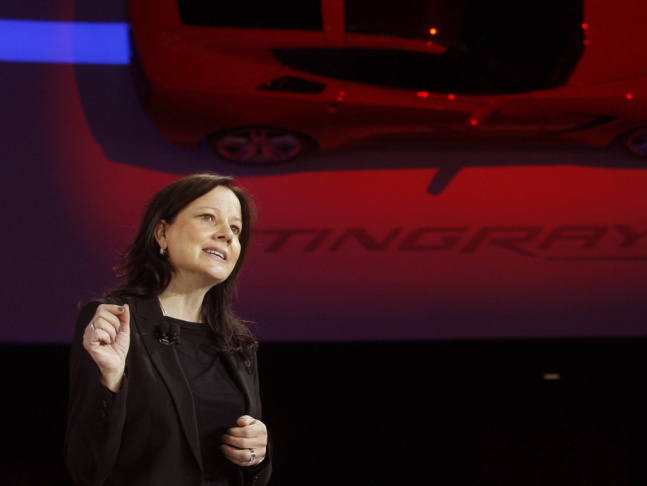 Mary Barra speaks at the North American International Auto Show in Detroit earlier this year. General Motors has picked her to lead the company.