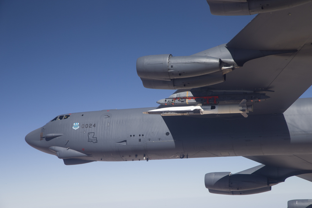 B-52 carries the X-51 Hypersonic Vehicle out to the range for launch test. May 1, 2013.