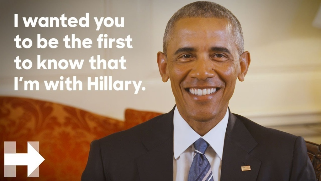 President Barack Obama endorses Hillary Clinton for president.