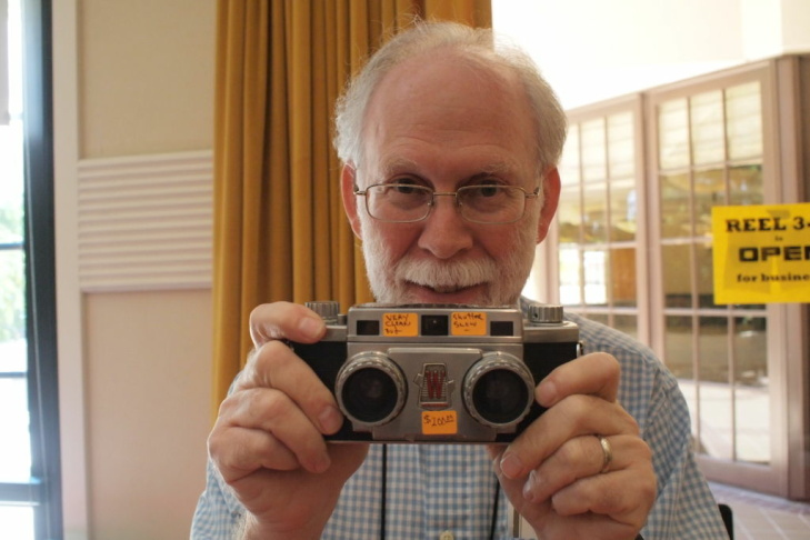 3D Photographer David Starkman with a Stereo Realist, a 3D camera from 1947.