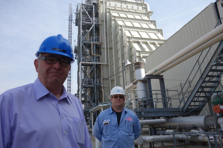 Fred Fletcher, assistant general manager for Burbank Water and Power with CJ Hagen, a plant operator, at the Magnolia Power Project in Burbank.