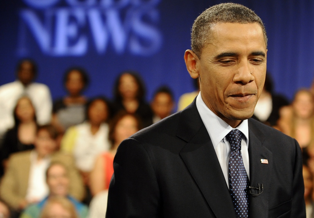 US President Barack Obama participates in a CBS News Townhall Meeting on the economy at the Newseum in Washington, DC, on May 11, 2011.